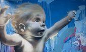 Baby Swimming Colorful Graffiti