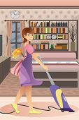 stock photo of homemaker  - A vector illustration of happy woman vacuuming carpet in the living room - JPG