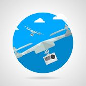 Quadrocopter with camera flat vector icon