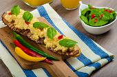 Scrambled Eggs With Toast And Fresh Salad