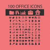 100 office icons, signs, symbols, illustrations set on background, vector