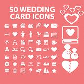50 wedding card, romance, love icons, signs, symbols, illustrations set on background, vector