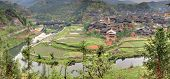 Wooden Houses Peasants In The Mountainous Village Agriculture China