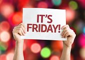 It's Friday card with colorful background with defocused lights