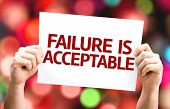 Failure is Acceptable card with colorful background with defocused lights