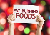 Fat Burning Foods card with colorful background with defocused lights