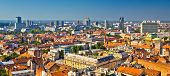 Zagreb Aerial Skyline Rooftops View