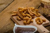 foto of churros  - Churros with chocolate dip  - JPG