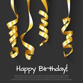 Birthday Background with Gold Streamers. Vector Illustration.