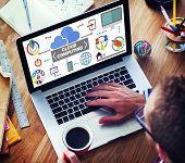 Laptop Connection Global Communications Cloud Computing Concept