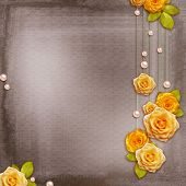 Vintage Background For Album Or Congratulation Card With Roses And Pearls
