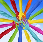 Human Hand Circle Togetherness Connection Teamwork Community Concept