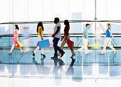Silhouette People Walking Spending Shopping Mall Urban Scene