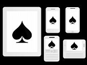 pic of spade  - White Mobile Devices Icons with Poker Spades - JPG
