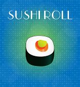 Food Menu Sushi Roll With Blue & Golden Background