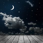 pic of moon stars  - backgrounds night sky with stars and moon and clouds - JPG
