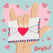 stock photo of pinky  - A Love letter with Love hand sign in Big pinky heart background - JPG