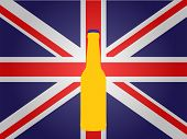 British Flag With A Bottle Of Beer