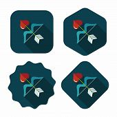 Valentine's Day Cupid Bow And Arrow Flat Icon With Long Shadow,eps10