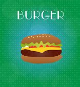 Food Menu Burger With Green & Blue Background