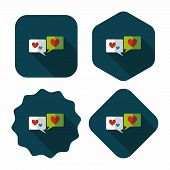 Valentine's Day Love Message Phone Flat Icon With Long Shadow,eps10