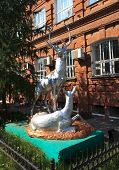 stock photo of deer family  - Sculpture a pair of deer in Omsk - JPG