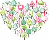 I love spring and nature. Heart made of spring blossoming trees