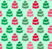 Seamless green pattern with winter trees