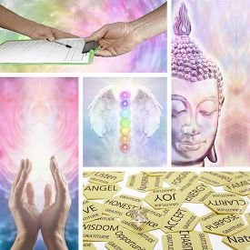 pic of divine  - Five images showing different aspects of holistic healing including healing hands - JPG