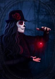 picture of sugar skulls  - Woman with sugar skull makeup with levitating red apple at dark forest background - JPG
