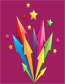 picture of shooting stars  - Vector illustration of colorful 3D arrows shoot out with stars over purple background - JPG
