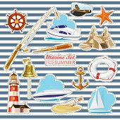 pic of lifeline  - Set of nautical or naval elements with anchor - JPG