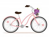 picture of bicycle gear  - Pink bicycle with flowers for girl - JPG
