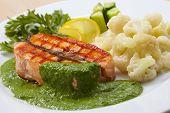 stock photo of salmon steak  - salmon steak with cauliflower - JPG