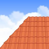 pic of roof tile  - Red corrugated tile element of roof - JPG
