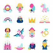 picture of magic-wand  - Fairy tale characters and symbols set with magic book wand dragon unicorn isolated vector illustration - JPG