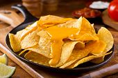 image of nachos  - A plate of delicious plain nacho corn chips with cheese sauce - JPG