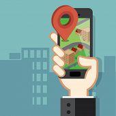 stock photo of gps navigation  - Mobile phone navigation app and gps concept - JPG