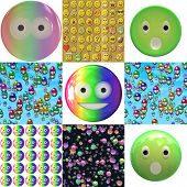 foto of emoticons  - Set of emoticons plastic faces textures or background - JPG
