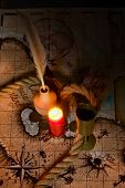 picture of inkwells  - Dark image Old map - JPG