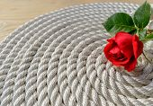 foto of arum lily  - Beautiful red rose lily over rope and wooden table - JPG