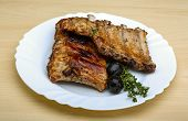 picture of roasted pork  - Roasted pork ribs with thyme and spices - JPG