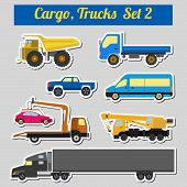 pic of lorries  - Set of elements cargo transportation - JPG