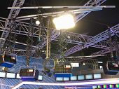 foto of illuminating  - structures of tv studio illumination lights equipment and projectors - JPG