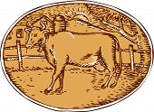 stock photo of farm-house  - Illustration of cow facing side with ranch house farm mountain sun trees in the background set inside oval shape done in retro woodcut style - JPG