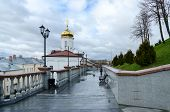 stock photo of holy-spirit  - Holy Spirit female monastery and stairs to the Uspenskaya hill Vitebsk Belarus - JPG