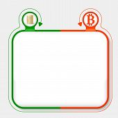 picture of bit coin  - Abstract frame for your text and bit coin symbol - JPG