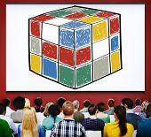 image of cube  - Puzzle Cube Game Cube Shape Intelligence Concept - JPG
