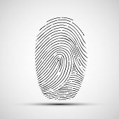picture of fingerprint  - icon of human fingerprint isolated on a white background - JPG