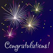 image of congratulations  - Vector Illustration of Fireworks for congratulation card - JPG